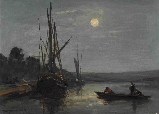 kanallandschaft mit segelbooten im mondlicht by johan barthold jongkind