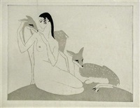 lady and the fawns by cecil leslie