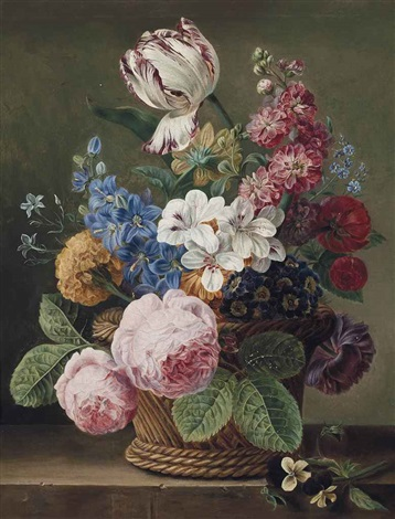 a parrot tulip roses morning glory and other flowers in a wicker basket on a ledge by jan frans van dael