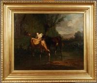 paysage aux trois vaches et vachère en arrière-plan by antonio cortés cordero