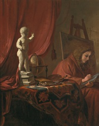 ein künstler in seinem atelier zeichnend by job adriaensz berckheyde