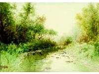 verdant tree lined rocky stream by j. g. brunn