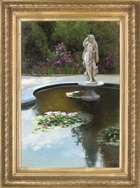 lilies in an ornamental pond by dmitri kolujni