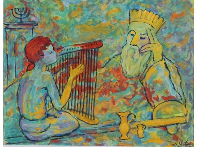 david jouant de la harpe devant le roi saül by nathan gutman