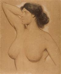 weiblicher halbakt mit erhobenem rechten arm by fritz erler