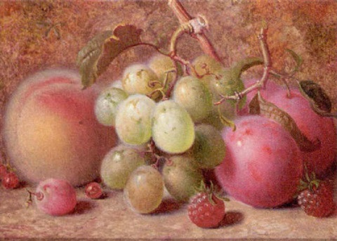 grapes plums raspberries and a peach on a mossy bank by charles archer