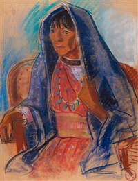 Woman with Blue Shawl.