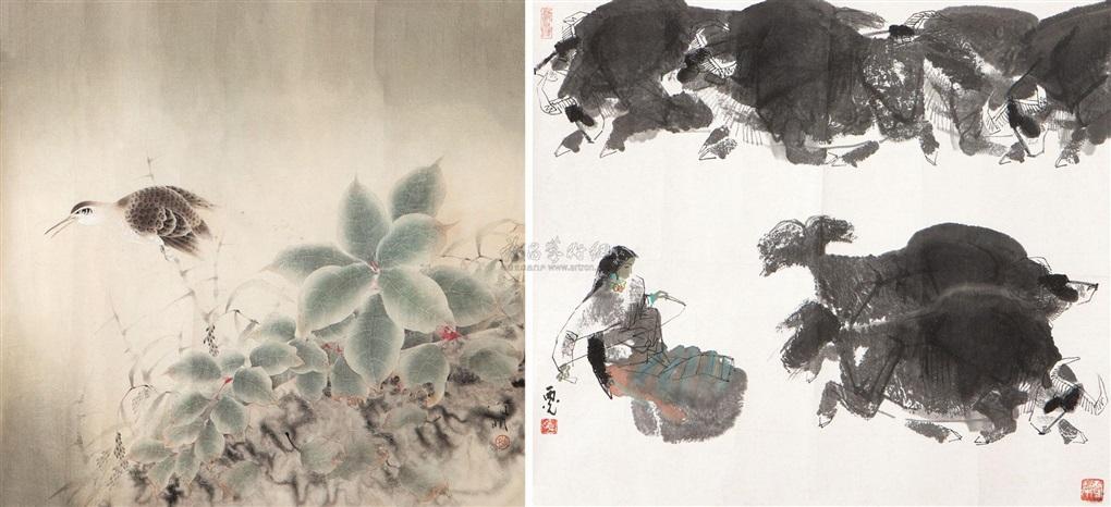牧牛图 工笔花鸟 2 works by ma xiguang
