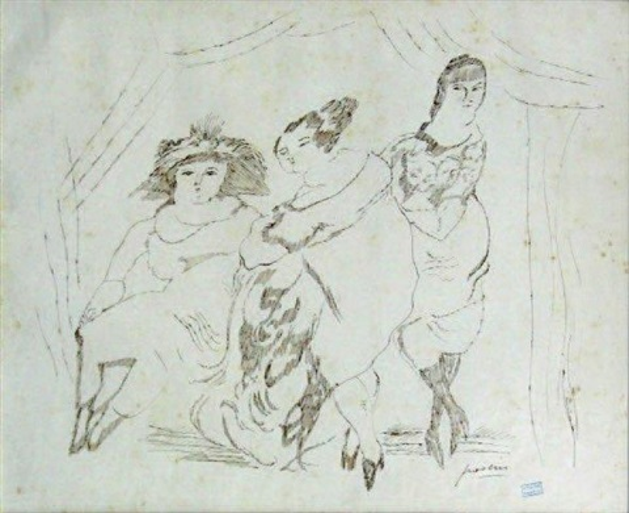 trois femmes au salon by jules pascin