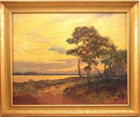 landscape with path through woods by george a. newman