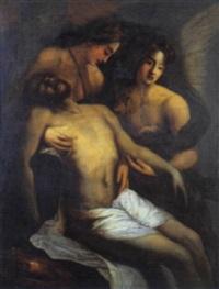 cristo deposto sorreto da due angeli by giovanni andrea de ferrari