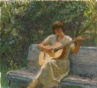 the artist's granddaughter playing the guitar by tatiana yablonskaya