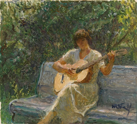 the artists granddaughter playing the guitar by tatiana yablonskaya
