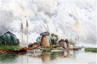 pumping mills near rotterdam; near rotterdam (pair) by louis van staaten