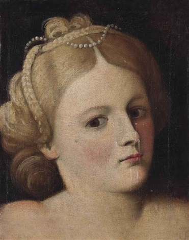 portrait of a woman bust length with pearls in her hair by bernardino licinio