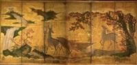 entre deux nuages d'or, un cerf debout, à côté d'une biche se désaltérant dans l'eau d'un torrent, regardant un autre cerf bramant, sur l'autre berge sous les érables rouges, entourés de rochers by japanese school (18)