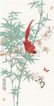 翠竹文禽图 (flowers and birds) by xue ke