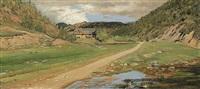 bewaldete landschaft mit bauernhaus by julius von gundelfinger