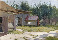 a backyard in summer by mikhail markelovitch gurjavine