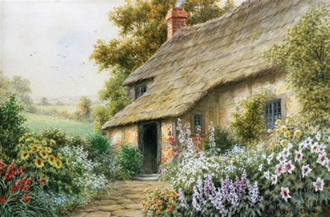 english thatched cottage by ernest e abbott