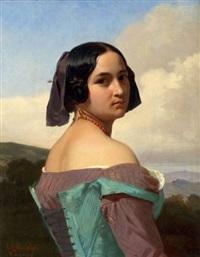 portrait de jeune femme romaine by eugène ernest hillemacher