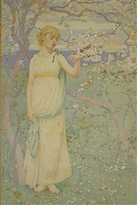 springtime, woman with apple blossoms by dennis miller bunker
