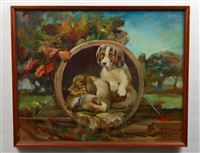 three puppies in an autumn landscape by kipp soldwedel