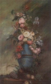 floral still life in tall blue vase by charles hooper