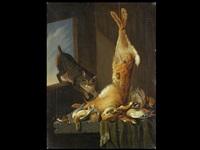 jagdstillleben mit katze by cornelis van lelienbergh