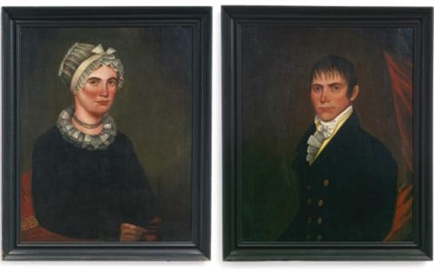 a pair of portraits of mr daniel spraker and his wife eliza by ammi phillips