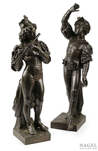 zwei lebensgroße florentiner troubadourknaben (2 works) by a. rolle
