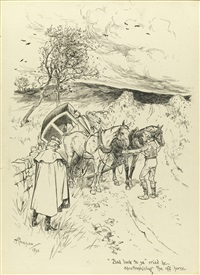 bad luck to ye' cried he, apostrophising the off horse (+ i recognised my fair cousin baby, who with a younger brother, was taking an evening walk; 2 works) by arthur rackham