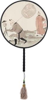 执扇罗汉图 宫扇 设色绢本 (circular fan) by ma jun