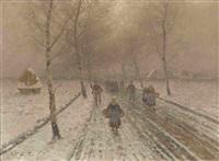 bauern auf breiter allee in verschneiter landschaft by johann jungblut