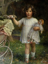 portrait of margot with doll and pram by isaac snowman