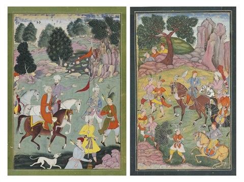 a royal hunting scene another verso by anonymous indian 16