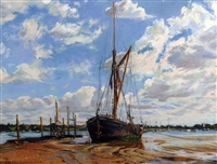 low tide with barge by margaret glass