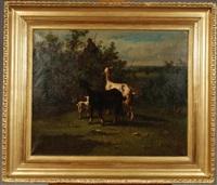 paysage aux chèvres et chevreau, une petite bergère en arrière-pan by antonio cortés cordero