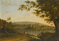 a view of neath abbey with gnoll's castle beyond by hendrik frans de cort