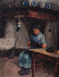mending socks in the farm kitchen by jan kruysen