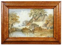 a boy and his dog crossing a river; a girl watching ducks on a pond (pair) by thomas smythe