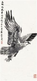 飞鹰图 立轴 纸本 by huang zhou