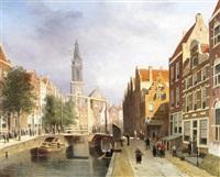 canal scene, amsterdam by johannes frederik hulk the elder
