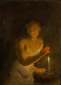 ung flicka med ljus by alexander laureus