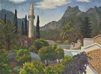 turkish village with mosque, cyprus by sir cedric lockwood morris