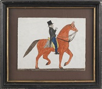 schwenkfelder fraktur drawing depicting a gentleman in coattails with a top hat riding a prancing horse with a yellow saddle and a spotted blanket by jonas kriebel