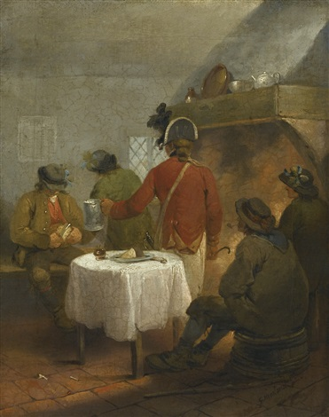 the recruiting sergeant offering a tankard of beer in which lies the kings shilling by george morland