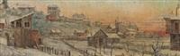 montmartre sous la neige et paris vu du mont valérien (pair) by eugène authiat