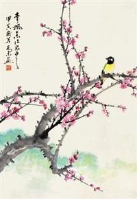 梅花小鸟 立轴 设色纸本 by qiao mu