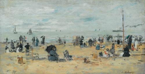 trouville scène de plage by eugène boudin